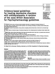 Evidence-based guidelines for treating depressive disorders with ...