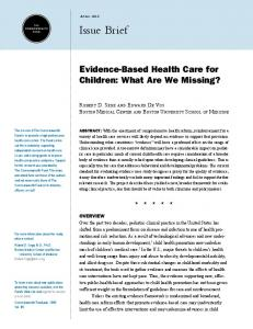 Evidence-Based Health Care for Children - The Commonwealth Fund