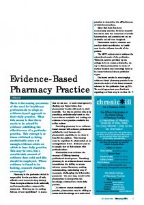 Evidence-Based Pharmacy Practice - Malta College of Pharmacy ...