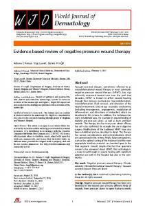 Evidence based review of negative pressure wound