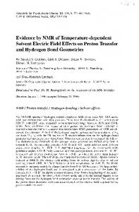 Evidence by NMR of Temperature-dependent Solvent ... - CiteSeerX