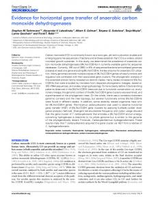 Evidence for horizontal gene transfer of anaerobic carbon ... - Core
