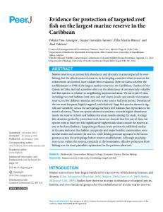 Evidence for protection of targeted reef fish on the ... - BioMedSearch