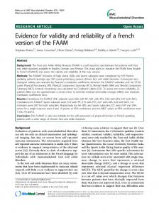 Evidence for validity and reliability of a french ... - BioMed Central