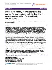 Evidence for validity of five secondary data sources for enumerating ...