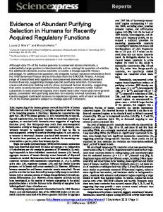Evidence of Abundant Purifying Selection in Humans for Recently ...