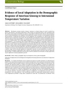 Evidence of Local Adaptation in the ... - Wiley Online Library
