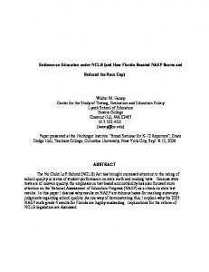 Evidence on Education under NCLB (and How ... - Boston College