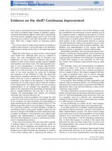 Evidence on the shelf? Continuous improvement - Wiley Online Library