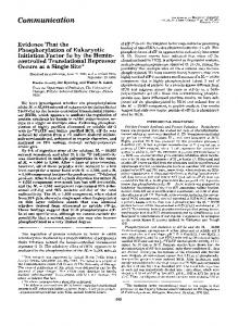 Evidence that the phosphorylation of eukaryotic initiation factor 2 ...