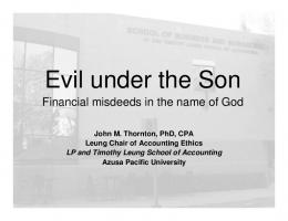 Evil under the Son