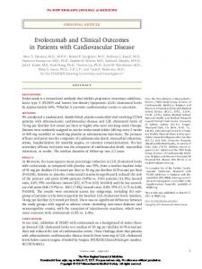 Evolocumab and Clinical Outcomes in Patients with Cardiovascular ...