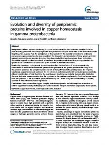 Evolution and diversity of periplasmic proteins involved in copper ...