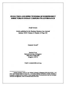 evolution and effectiveness of independent directors in ... - SSRN papers