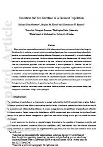 Evolution and the Duration of a Doomed ... - Wiley Online Library