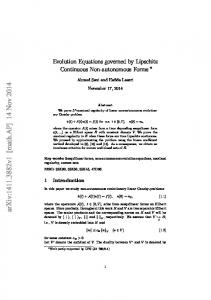 Evolution Equations governed by Lipschitz Continuous Non ...