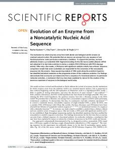 Evolution of an Enzyme from a Noncatalytic ... - Semantic Scholar
