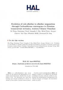 Evolution of calc-alkaline to alkaline magmatism through ...
