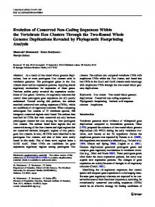 Evolution of Conserved Non-Coding Sequences Within the Vertebrate ...