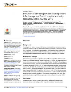 Evolution of EBV seroprevalence and primary infection age in ... - PLOS