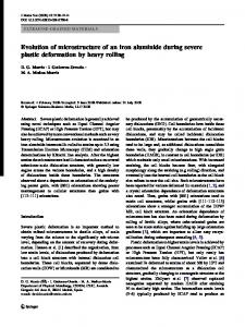 Evolution of microstructure of an iron aluminide during ... - Springer Link