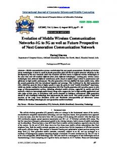 Evolution of Mobile Wireless Communication Networks-1G to 5G as ...