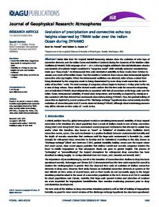 Evolution of precipitation and convective echo ... - Wiley Online Library