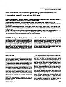 Evolution of the Alx homeobox gene family - Wiley Online Library