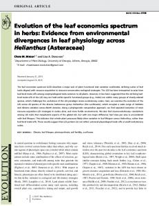 Evolution of the leaf economics spectrum in herbs: Evidence from ...