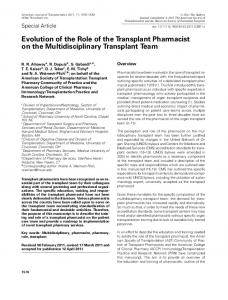 Evolution of the Role of the Transplant ... - Wiley Online Library