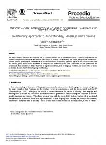Evolutionary Approach to Understanding Language ... - Science Direct