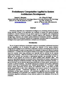 Evolutionary Computation Applied to System ... - Systems Concepts