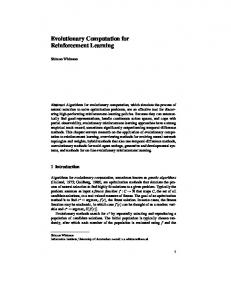 Evolutionary Computation for Reinforcement Learning - Department of ...