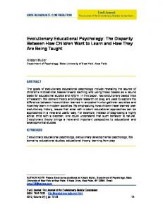 Evolutionary Educational Psychology - the EvoS Consortium!