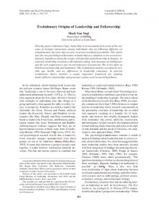 Evolutionary Origins of Leadership and Followership - CiteSeerX