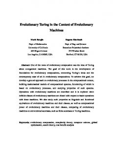 Evolutionary Turing in the Context of Evolutionary Machines - arXiv