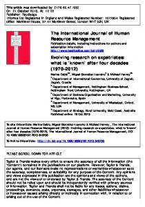 Evolving research on expatriates: what is `known