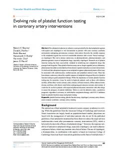 Evolving role of platelet function testing in coronary ... - Semantic Scholar