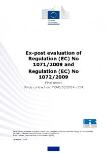 Ex-post evaluation of Regulation (EC)
