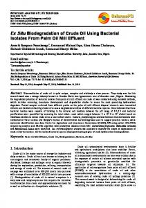 Ex Situ Biodegradation of Crude Oil Using Bacterial Isolates From