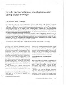Ex situ conservation of plant germplasm using