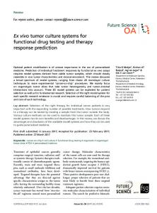 Ex vivo tumor culture systems for functional drug ... - Semantic Scholar