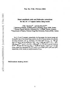 Exact Ampitude Ratio and Finite-Size Corrections for the M x N Square ...
