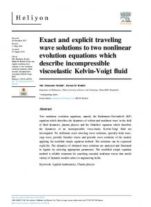 Exact and explicit traveling wave solutions to two nonlinear ... - Heliyon