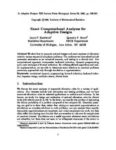Exact Computational Analyses for Adaptive ... - EECS @ Michigan