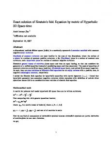 Exact solution of Einstein's field Equation by metric of