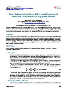 Exact Solution to Nonlinear Differential Equations of Fractional Order via