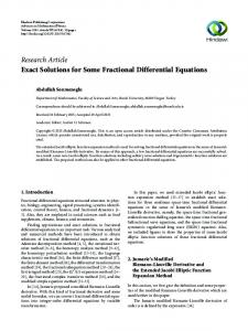 Exact Solutions for Some Fractional Differential Equations