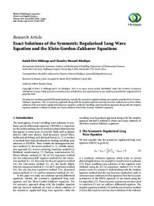 Exact Solutions of the Symmetric Regularized Long Wave Equation ...
