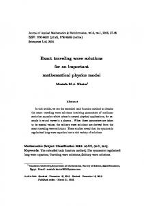 Exact traveling wave solutions for an important mathematical physics